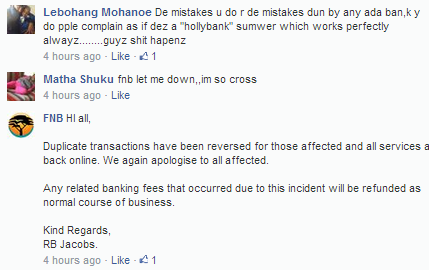 fnb duplicate transactions reply