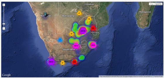 geo heat map south africa