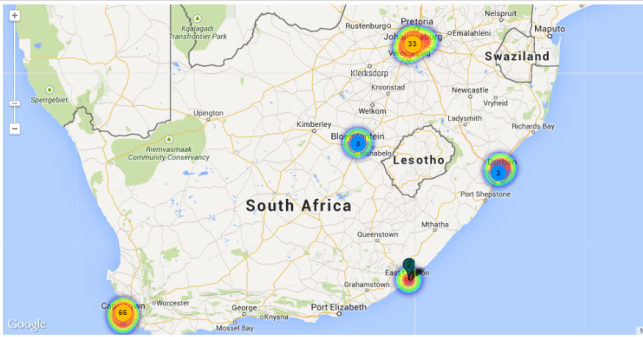 south africa heat map
